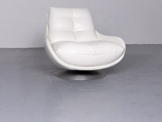 Chateau Dax Designer Leder Sessel Weiß Echtleder Stuhl 6664
