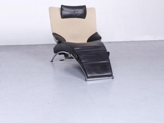 WK Wohnen Solo 699 Designer Leder Liege Schwarz Echtleder Sessel #6682