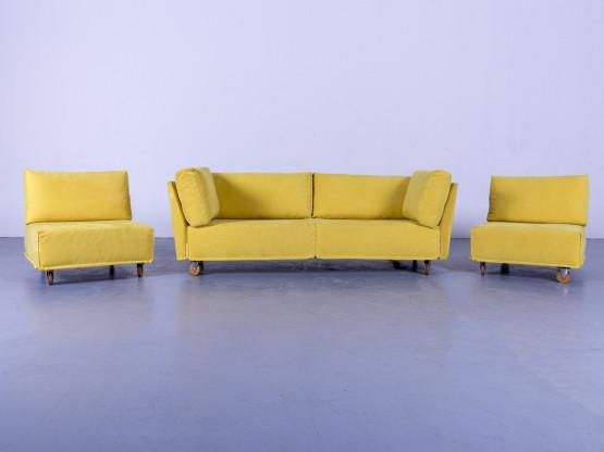 Brühl & Sippold Carousel Designer Stoff Sofa Gelb Dreisitzer Couch #5273