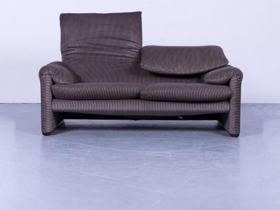 Cassina Maralunga Designer Stoff Sofa Braun Zweisitzer Couch Funktion #5413