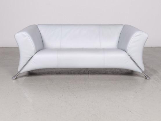 Rolf Benz 322 Designer Leder Sofa Blau Eisblau Echtleder Zweisitzer Couch  #7808