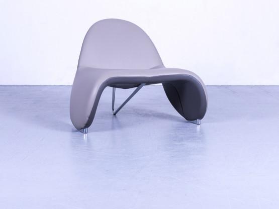 Leolux Designer Leder Sessel Grau Einsitzer Stuhl Echtleder #5177