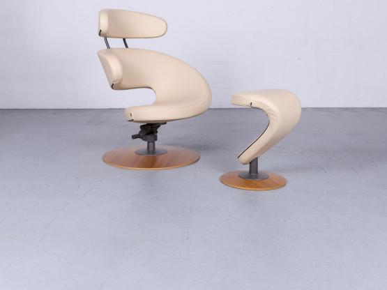 Varier Peel Designer Leder Sessel Hocker Beige Echtleder Stuhl 6436