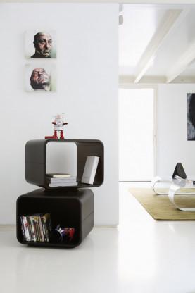 Design Standregal spHaus Kaar Weiß Matt 2 Etage H80 / 50x50 cm