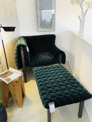 Ligne Roset - RUCHE - Sessel mit Hocker, Stoff dunkelgrün