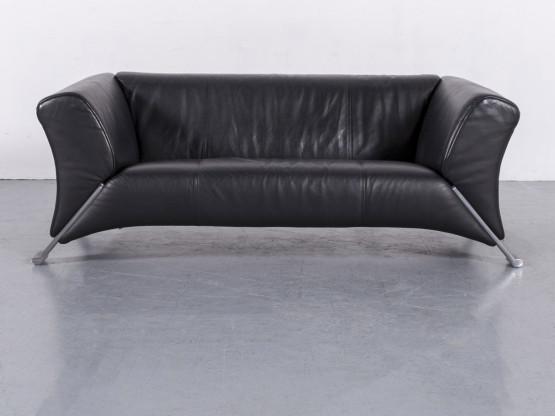 Rolf Benz 322 Leder Sofa Schwarz Zweisitzer Couch Echtleder #5955