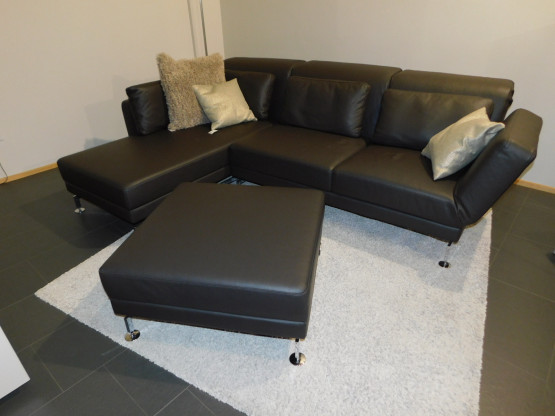 Brühl Sofa Moule in Leder Unit dunkelbraun