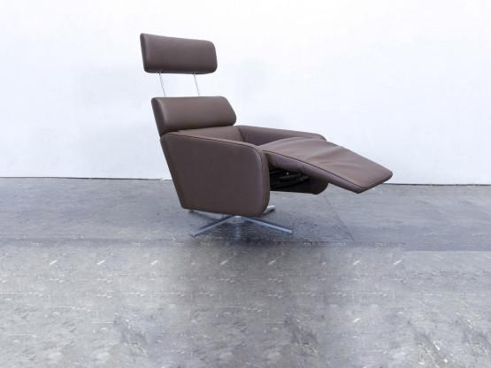 FSM Ergo Designer Relax Sessel Leder Braun Einsitzer Couch Modern Echtleder