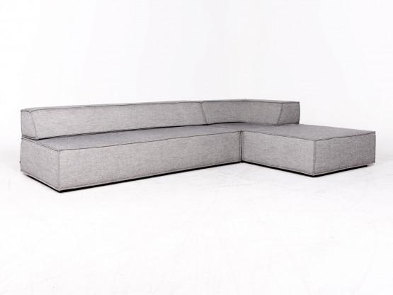 Cor Trio Designer Stoff Ecksofa Grau Elemente Sofa Couch Hocker