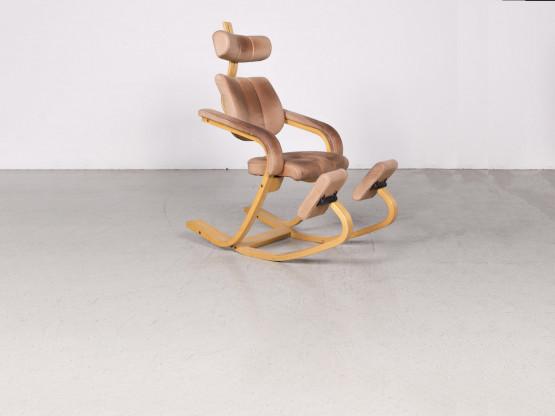 Stokke Gravity Balans Designer Leder Holz Schaukelstuhl Braun By