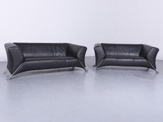 Rolf Benz 322 Designer Leder Sofa Garnitur Schwarz Couch Echtleder Zweisitzer #6597