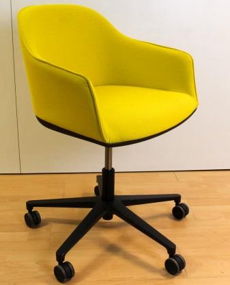 Konferenzstuhl vitra  Vitra Softshell Chair Konferenzstuhl Stoff senfgrün / Gestell auf ...