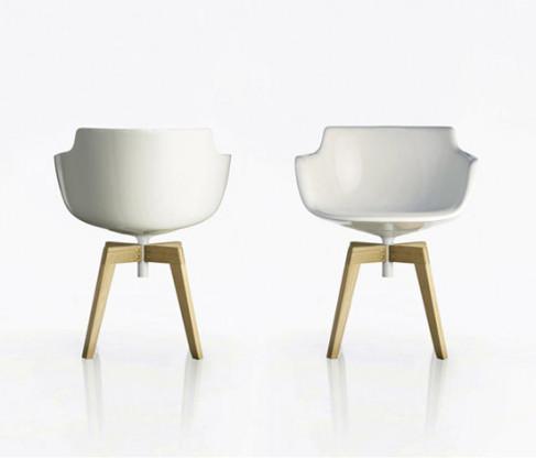 MDF Italia - Flow Slim Chair  in weiß mit Sitzpolster