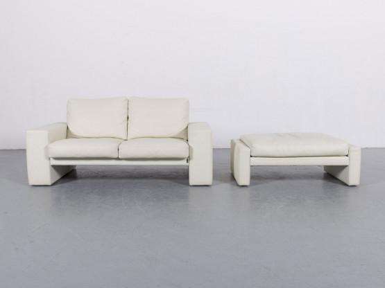 Erpo Leder Sofa Garnitur Creme Weiß Zweisitzer Couch Hocker