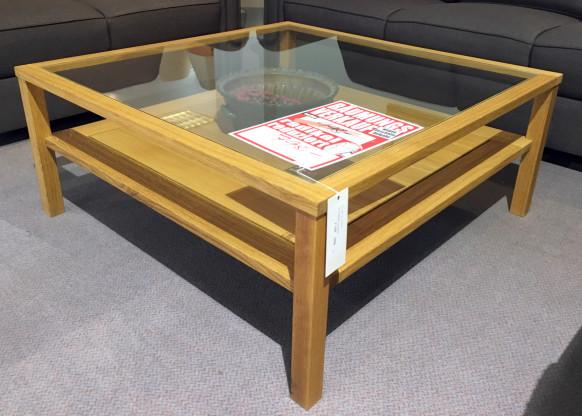 Couchtisch 9090 cm, mit Glasplatte, Eiche massiv