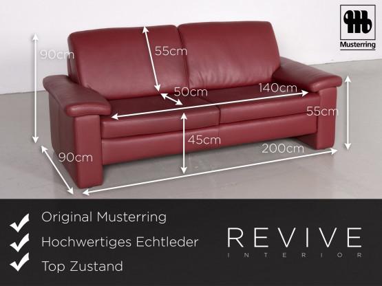 Musterring Designer Leder Sofa Sessel Garnitur Rot Echtleder