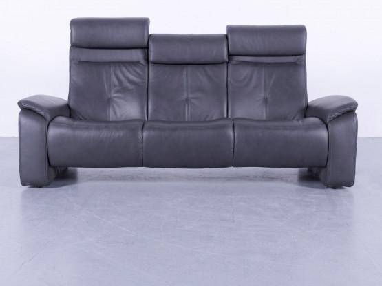 Himolla Designer Leder Sofa Schwarz Dreisitzer Couch Echtleder Funktion #5852