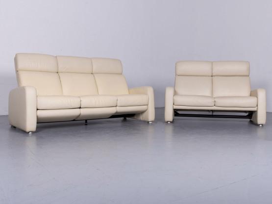 Willi Schillig Designer Leder Sofa Beige Echtleder Garnitur Dreisitzer Zweisitzer Couch #6454