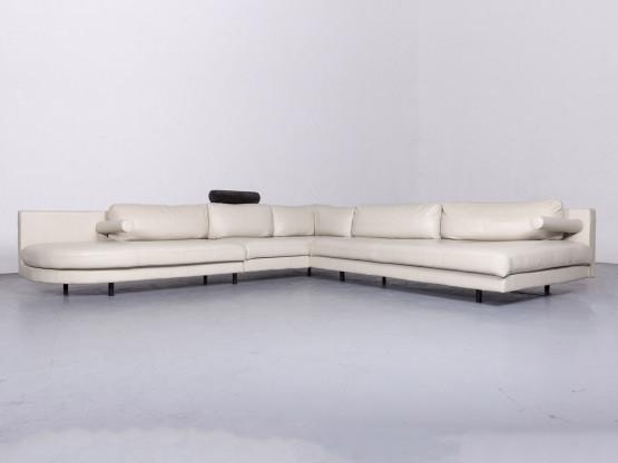 B&B Italia Designer Leder Sofa Creme Echtleder Ecksofa Couch #6680