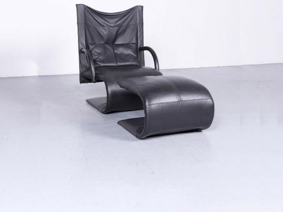 ligne roset Designer Leder Sessel Schwarz Echtleder Stuhl Hocker #6552