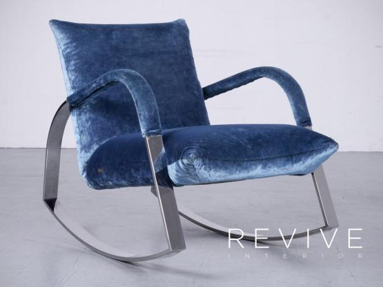 Bretz Highland B132 Designer Samt Blau Sessel Hocker Liege 6360