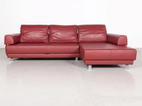 Ewald Schillig Sinus Designer Leder Ecksofa Rot Echtleder Sofa Couch