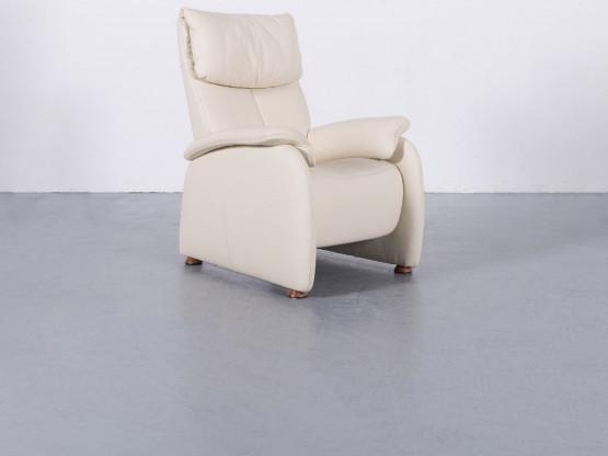 Himolla Designer Leder Sessel Creme Beige Einsitzer Stuhl Echtleder #5829