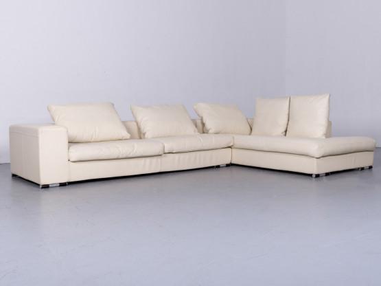 La Nuova Casa Designer Leder Sofa Beige Ecksofa Echtleder Couch