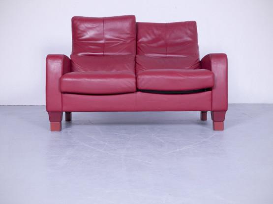 Erpo Designer Relax Sofa Rot Leder Zweisitzer Couch Funktion Echtleder Modern #4208