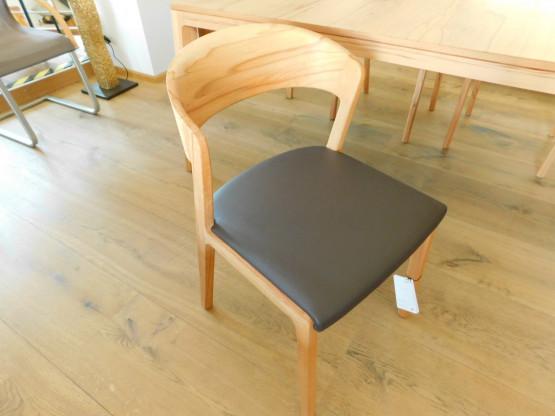 Team 7 Holzstuhl MYLON, Sitz gepolstert mit Leder bezogen, Kernbuche