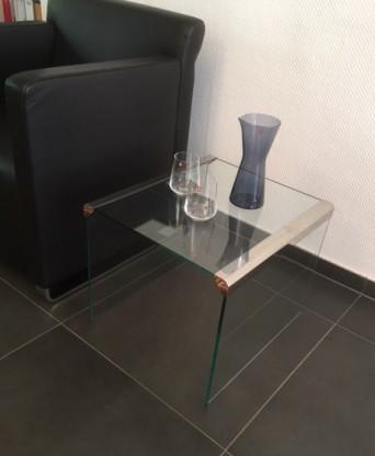 Beistelltisch T 35 R  in Glas/Edelstahl