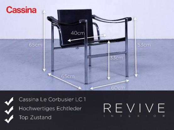 Cassina Le Corbusier LC 1 by Le Corbusier, Jeanneret, Perriand Designer Sessel Leder Schwarz Bauhaus #4718