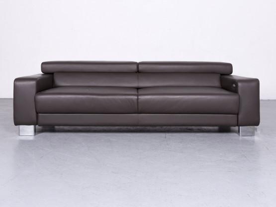 Willi Schillig Fuzion Designer Leder Sofa Braun Echtleder Dreisitzer Couch Elektisch #6700