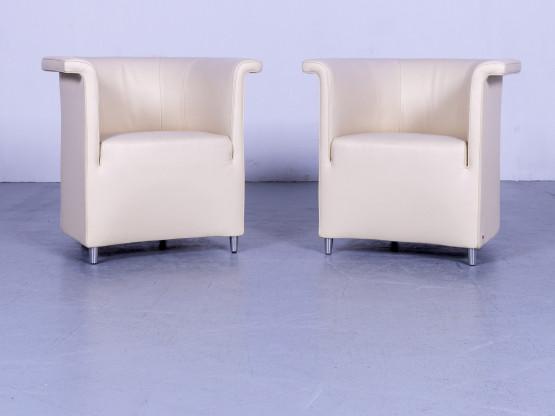 de Sede DS 725 Leder Sessel Garnitur Beige Einsitzer Stuhl Echtleder #5665