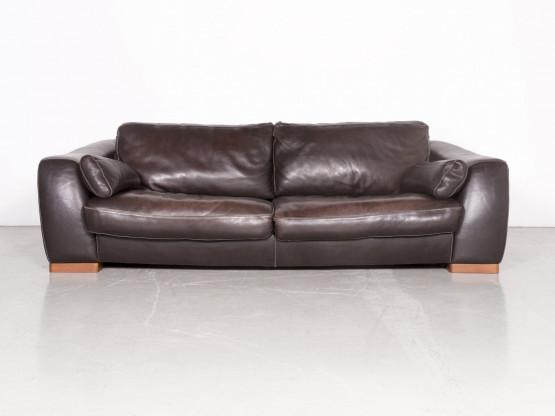 Incanto Designer Leder Sofa Braun Echtleder Dreisitzer Couch 7437