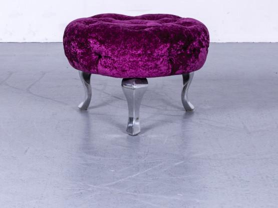 Bretz Pompadou Designer Stoff Hocker Brombeer Rot Schemel Pouf #5407