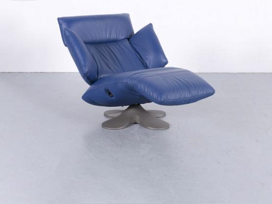Ligne Roset Designer Leder Sessel Blau Einsitzer Liege Relax Funktion Echtleder #5869