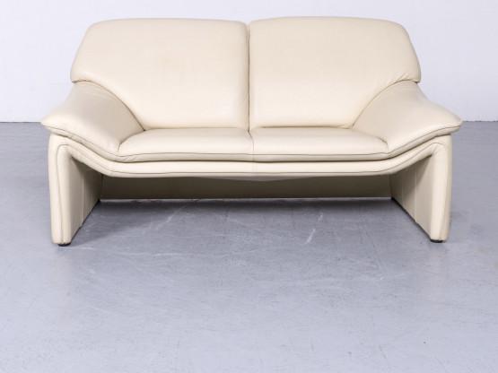Laauser Atlanta Designer Leder Sofa Creme Echtleder Zweisitzer Couch #6583