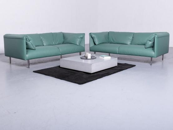 Poltrona Frau John-John Designer Leder Sofa Garnitur Mint Echtleder Zweisitzer Couch #6656