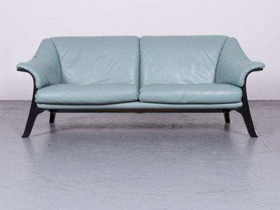 Poltrona Frau Designer Leder Sofa Blau Hellblau Echtleder Zweisitzer