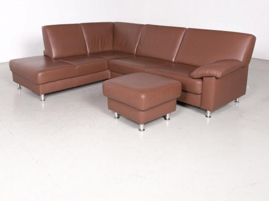 Ewald Schillig Designer Leder Ecksofa Hocker Garnitur Braun Echtleder Sofa Couch 7564