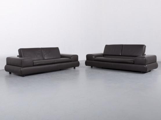 Koinor Designer Leder Sofa Garnitur Braun Dreisitzer Couch Funktion Echtleder #6184