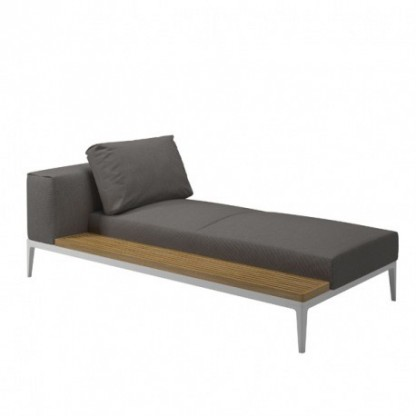 Grid Chaiselongue mit Teakablage, Granite