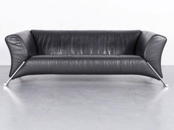 Rolf Benz 322 Leder Sofa Schwarz Echtleder Couch #5589