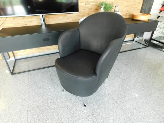 Brühl Sessel floret 1, Leder Lama schwarz