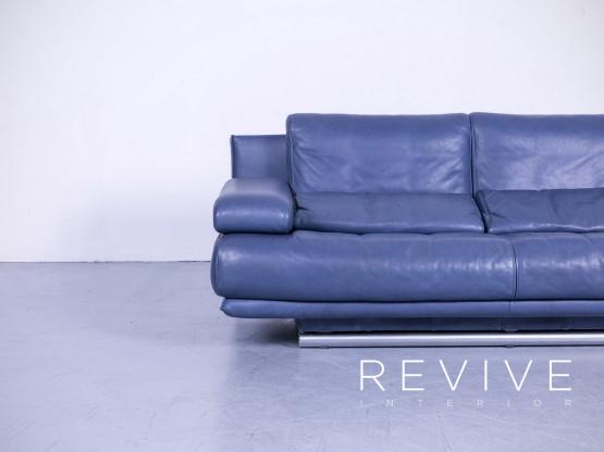 Rolf Benz 6500 Designer Leder Sofa Blau Zweisitzer Couch Funktion