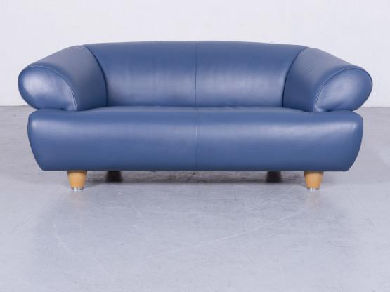 de Sede DS 91 Designer Sofa Leder Blau Zweisitzer Couch Modern Echtleder #3407