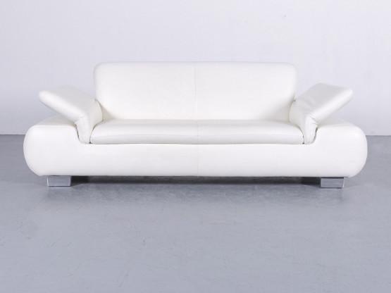 Koinor Designer Leder Sofa Weiß Zweisitzer Couch Funktion Echtleder #5991