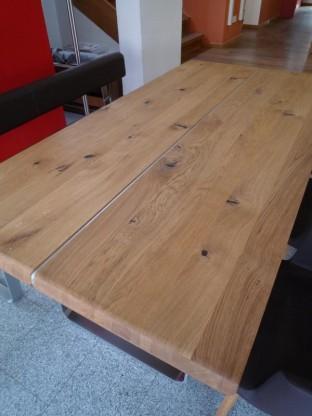 team 7 nox auszug tisch mit metallkufen in wildeiche designerm bel hohentengen. Black Bedroom Furniture Sets. Home Design Ideas