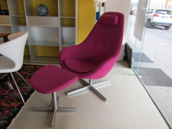 Kokon Sessel mit Hocker, Stoff pink von Variér